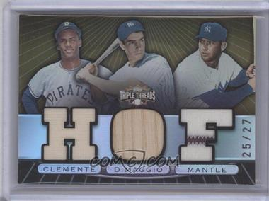 2007 Topps Triple Threads - Triple Relic Combos - Sepia #TTRC-60 - Mickey Mantle, Joe DiMaggio, Roberto Clemente /27