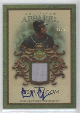 2007 Upper Deck Artifacts - MLB Apparel - Autographs [Autographed] #MLB-CC - Carl Crawford /55