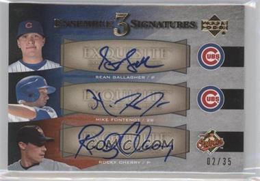 2007 Upper Deck Exquisite Rookie Signatures - Ensemble 3 Signatures #EE3-GFC - Sean Gallagher, Mike Fontenot, Rocky Cherry /35