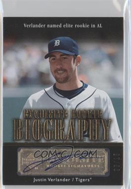 2007 Upper Deck Exquisite Rookie Signatures - Rookie Biography - Gold #ERB-JV - Justin Verlander /15