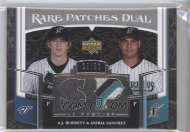 2007 Upper Deck Premier - Rare Patches Dual #RP2-BS - A.J. Burnett, Anibal Sanchez /50