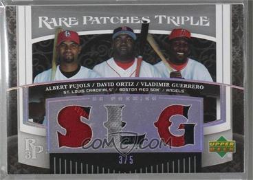 2007 Upper Deck Premier - Rare Patches Triple - Platinum #RP3-POG - Albert Pujols, David Ortiz, Vladimir Guerrero /5