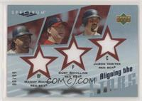 Manny Ramirez, Curt Schilling, Jason Varitek [NoneEXtoNM] #/99