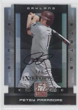 2008 Donruss Elite Extra Edition - [Base] - Status Black Die-Cuts Autographs [Autographed] #80 - Petey Paramore /1