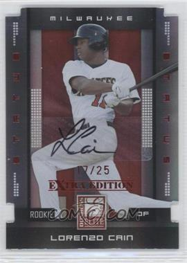 2008 Donruss Elite Extra Edition - [Base] - Status Red Die-Cuts Autographs [Autographed] #144 - Lorenzo Cain /25