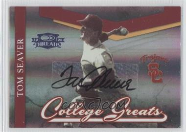 2008 Donruss Threads - College Greats - Signatures [Autographed] #CG-1 - Tom Seaver