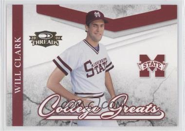 2008 Donruss Threads - College Greats #CG-9 - Will Clark