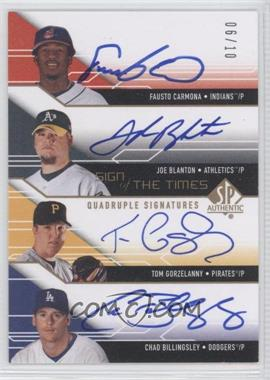 2008 SP Authentic - Sign of the Times Quadruple Signatures #ST4-CBGB - Fausto Carmona, Joe Blanton, Chad Billingsley, Tom Gorzelanny /10