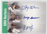 Clayton Kershaw, Tommy Hanson, Brad James /50