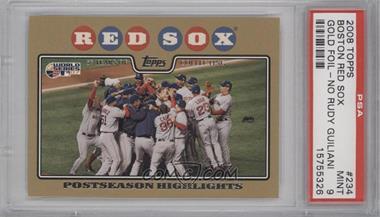 2008 Topps - [Base] - Gold Border #234 - Boston Red Sox Team /2008 [PSA9]