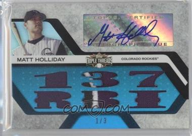 2008 Topps Triple Threads - Autograph Relics - Sapphire #TTAR-170 - Matt Holliday /3