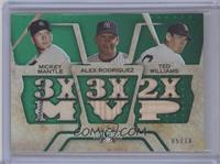 Mickey Mantle, Alex Rodriguez, Ted Williams #/18