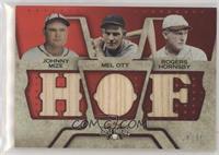 Johnny Mize, Mel Ott, Rogers Hornsby #/36