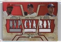 Jimmy Rollins, Jake Peavy, Ryan Braun #/36