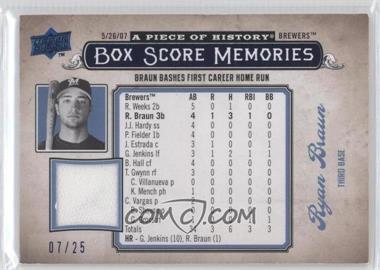 2008 Upper Deck A Piece of History - Box Score Memories - Blue Jerseys [Memorabilia] #BSM-32 - Ryan Braun /25