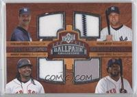 Quad Swatch Memorabilia - Derek Jeter, Don Mattingly, Manny Ramirez, David Ortiz