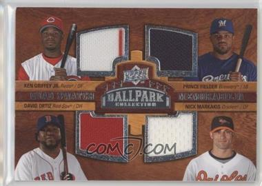 2008 Upper Deck Ballpark Collection - [Base] #242 - Quad Swatch Memorabilia - Prince Fielder, Ken Griffey Jr., David Ortiz, Nick Markakis