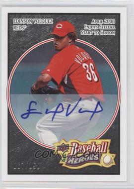 2008 Upper Deck Baseball Heroes - [Base] - Black Autograph [Autographed] #69 - Edinson Volquez /150