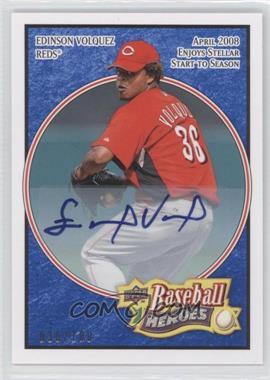 2008 Upper Deck Baseball Heroes - [Base] - Navy Blue Autograph [Autographed] #69 - Edinson Volquez /100