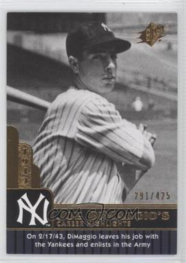 2009 SPx - Joe DiMaggio Career Highlights #JD-60 - Joe DiMaggio /425