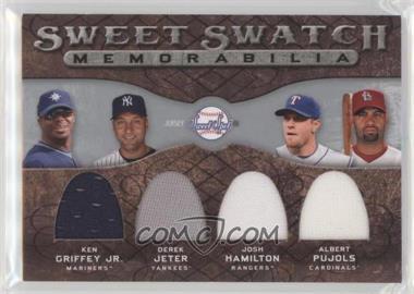 2009 Sweet Spot - Sweet Swatch Memorabilia Quad #QS-TOP - Ken Griffey Jr., Albert Pujols, Derek Jeter, Josh Hamilton