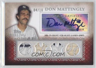 2009 Topps Sterling - Sterling Chronicles Quad Relic Autographs - Silver #4SCA-29 - Don Mattingly /10