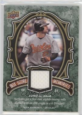 2009 Upper Deck A Piece of History - Box Score Memories - Jersey #BSM-NM - Nick Markakis