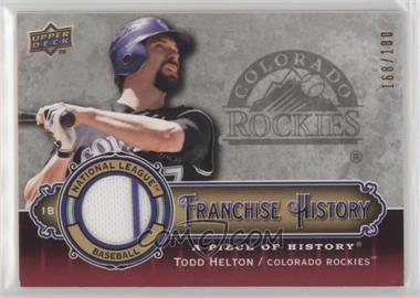 2009 Upper Deck A Piece of History - Franchise History - Red Jersey #FH-HE - Todd Helton /180