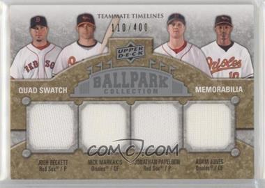 2009 Upper Deck Ballpark Collection - [Base] #258 - Teammate Timelines Quad Swatch - Josh Beckett, Jonathan Papelbon, Adam Jones, Nick Markakis /400