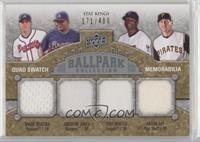 Stat Kings Quad Swatch Memorabilia - Andruw Jones, Mark Teixeira, Torii Hunter,…