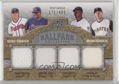 2009 Upper Deck Ballpark Collection - [Base] #290 - Stat Kings Quad Swatch Memorabilia - Andruw Jones, Mark Teixeira, Torii Hunter, Jason Bay /400