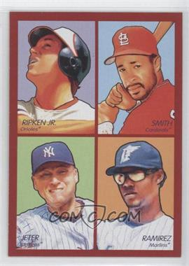 2009 Upper Deck Goudey - 4-in-1 - Red #35-18 - Ozzie Smith, Hanley Ramirez, Derek Jeter, Cal Ripken Jr.