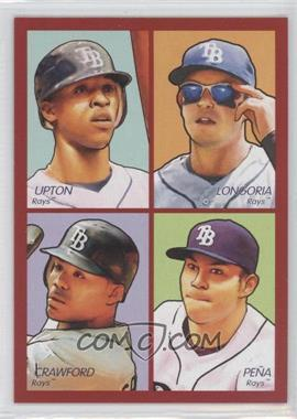 2009 Upper Deck Goudey - 4-in-1 - Red #35-35 - B.J. Upton, Evan Longoria, Carl Crawford, Carlos Pena