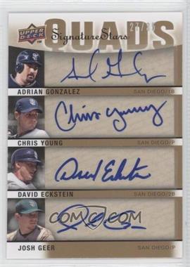 2009 Upper Deck Signature Stars - Signature Quads #S4-GYEG - Adrian Gonzalez, David Eckstein, Chris Young, Josh Geer /30