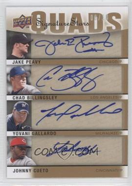 2009 Upper Deck Signature Stars - Signature Quads #S4-PBGC - Yovani Gallardo, Chad Billingsley, Jake Peavy, Johnny Cueto /10
