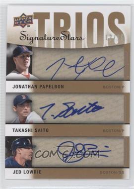 2009 Upper Deck Signature Stars - Signature Trios #S3-PSL - Jonathan Papelbon, Jed Lowrie, Takashi Saito /15