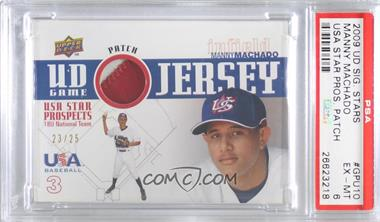 2009 Upper Deck Signature Stars - USA Star Prospects - UD Game Jersey Patch [Memorabilia] #GPU-10 - Manny Machado /25 [PSA6EX‑MT]