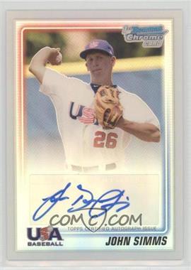 2010 Bowman Chrome - USA Stars - Refractors Autographs [Autographed] #USA-JS - John Simms /199