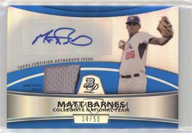 2010 Bowman Platinum - Autographed Relic Refractor - Blue Patch #PAR-MB - Matt Barnes /50