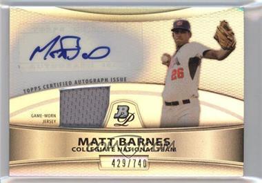 2010 Bowman Platinum - Autographed Relic Refractor #PAR-MB - Matt Barnes /740