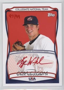 2010 Topps USA Baseball Team - Autographs - Red Ink #A-41 - Kyle Winkler /99