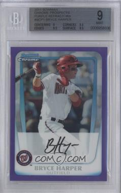 2011 Bowman - Chrome Prospects - Purple Refractor #BCP1 - Bryce Harper /700 [BGS 9]