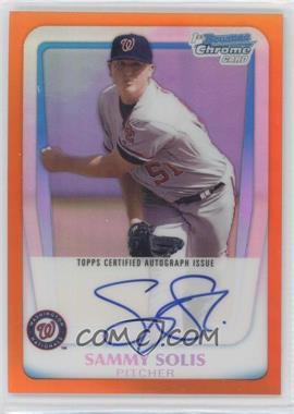 2011 Bowman - Chrome Prospects Autograph - Orange Refractor #BCP106 - Sammy Solis /25