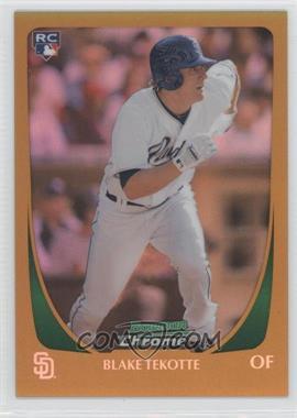 2011 Bowman Draft Picks & Prospects - Chrome - Gold Refractor #86 - Blake Tekotte /50