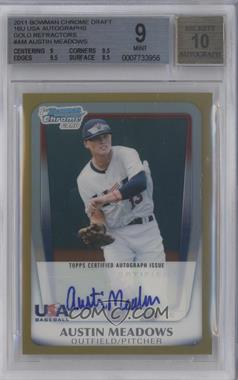 2011 Bowman Draft Picks & Prospects - Chrome USA 16U National Team Autograph - Gold Refractor #AA-AM - Austin Meadows /50 [BGS 9]