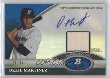 2011 Bowman Platinum - Autograph Relic Refractor - Blue #BAR-OM - Ozzie Martinez /99