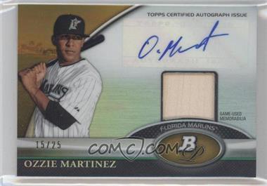 2011 Bowman Platinum - Autograph Relic Refractor - Gold #BAR-OM - Ozzie Martinez /25