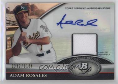 2011 Bowman Platinum - Autograph Relic Refractor #BAR-AR - Adam Rosales /1166