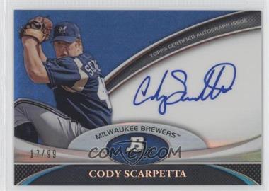 2011 Bowman Platinum - Prospect Autographs - Blue Refractor #BPA-CS - Cody Scarpetta /99