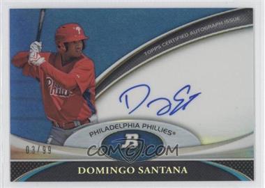 2011 Bowman Platinum - Prospect Autographs - Blue Refractor #BPA-DS - Domingo Santana /99